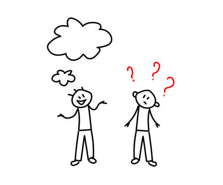 Two people are talking on a white background. Question mark. Sketch Vector illustration.