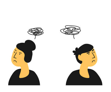 A man and a woman quarrel and think badly. Cartoon. Vector illustration.