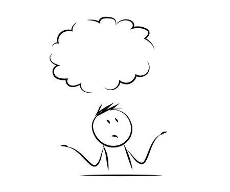 Man thinks over isolated background. Sketch. Vector illustration. Vektorgrafik