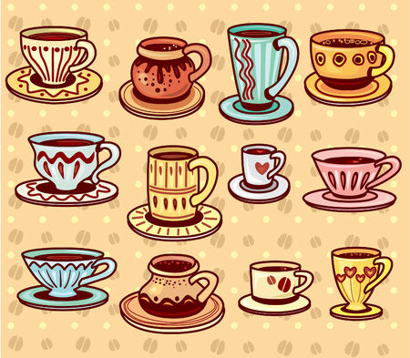 Set of coffee and tea cups