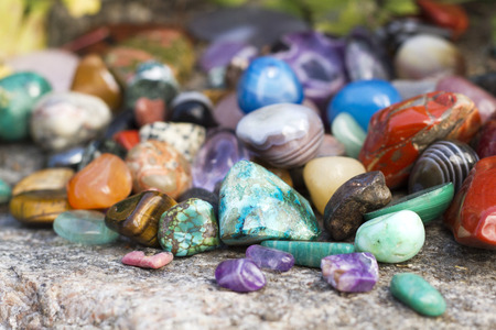 Color of semiprecious gemstones on natural background