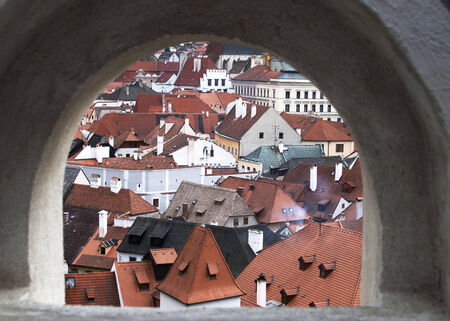 loophole: Cesky Krumlov from loop-hole from castle wall Stock Photo
