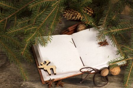 memoir: Christmas background - old blank open book with Christmas decoration Stock Photo