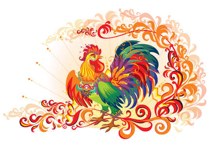 Vector hand drawn image of a fire rooster, the symbol of New year 2017