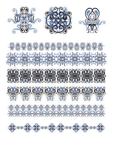Vector set of line art frames and borders for design template. Element in Eastern style. Black and  blue outline floral frames. Mono line decor for invitations, greeting cards, certificate.