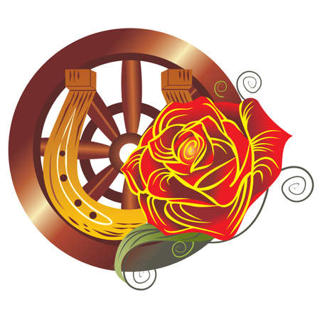 Gypsy  design over white background with rose and cartwheel, vector illustration. Illustration