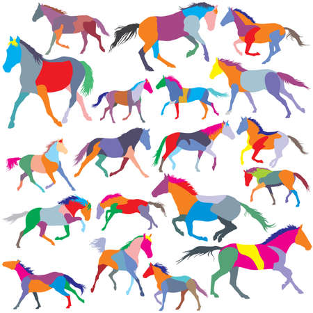Big Set of patchwork vector colorful trotting and galloping horses  silhouettes Фото со стока - 71172027