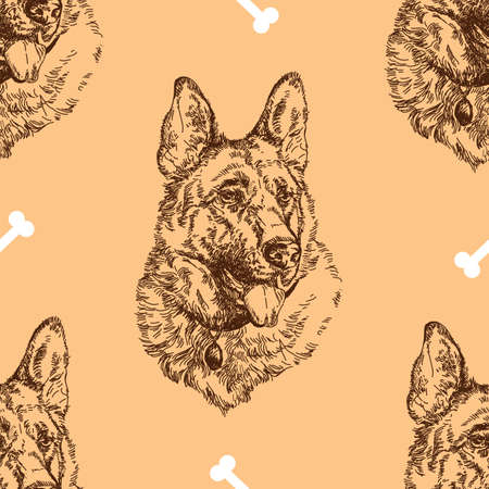 Pattern hand drawing German shepherd with white bones on beige background