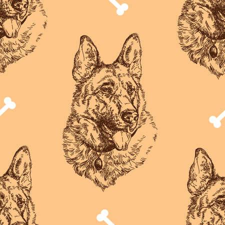 Pattern hand drawing German shepherd with white bones on beige background