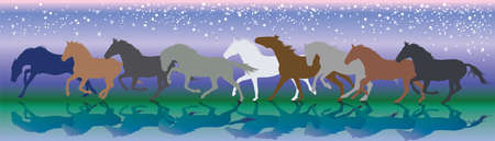 Vector background with horses and stars running gallop in the night 向量圖像