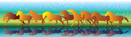 Vector background with horses running gallop on the water vector Illustration