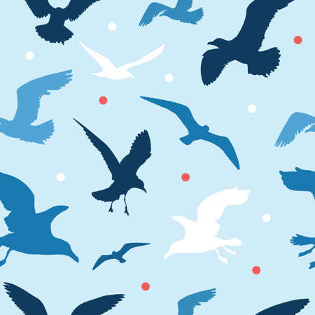 Seamless vector pattern with colorful seagulls on blue background