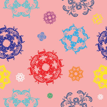 cor: Seamless vector pattern with colorful red, blue, purple, green, yellow d? ? cor on pink background