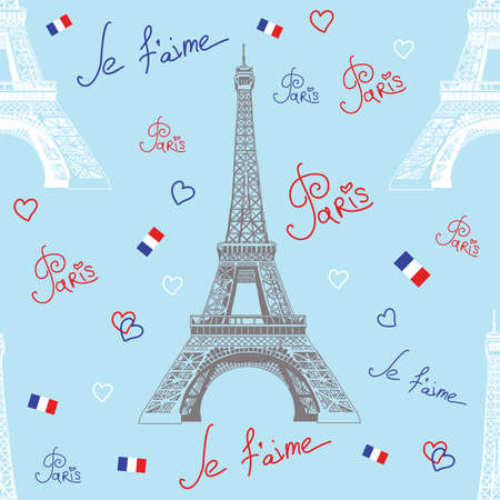 france painted: Seamless vector pattern with hand drawing white and grey Eiffel tower, inscriptions on blue background