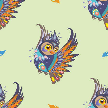 Seamless vector pattern with colorful cartoon owl and blue and orange feathers on green background