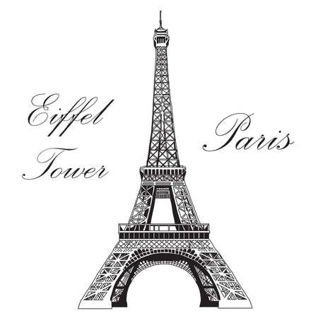 Torre Eiffel nera dell'illustrazione dell'illustrazione della mano di vettore su fondo bianco Archivio Fotografico - 71637737