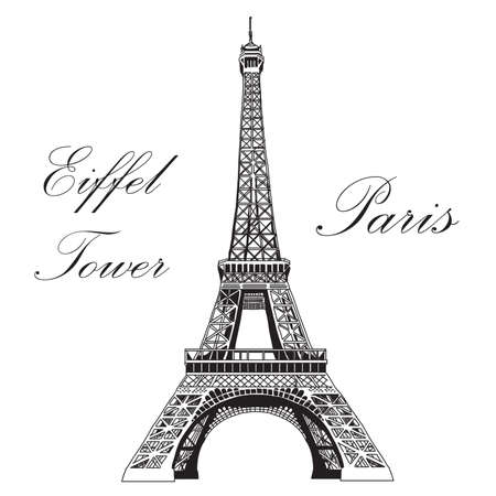 Vector hand drawing illustration black Eiffel tower on white background