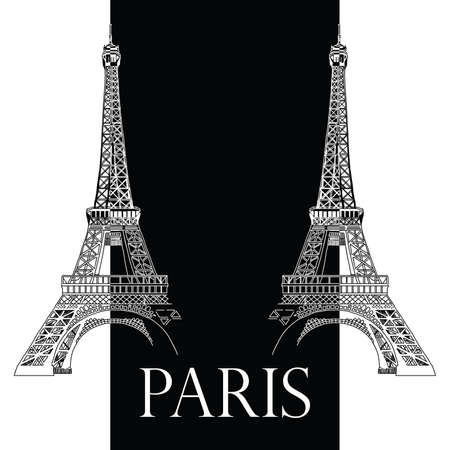 Vector hand drawing illustration with two black and white Eiffel towers