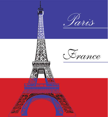 french culture: Eiffel tower on French flag background vector illustration