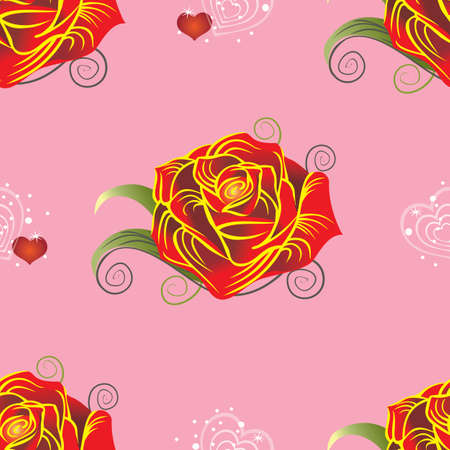 Seamless vector pattern with red rose and hearts on pink background Illustration