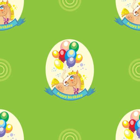 Nahtloses Vektormuster mit Pony und bunten Ballonen auf grünem Hintergrund Standard-Bild - 72546668