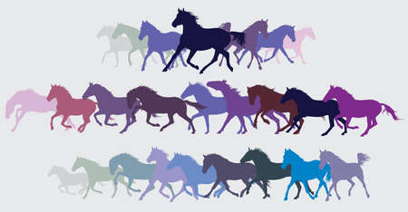 Set of colorful trotting horses silhouettes.