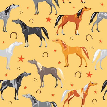 Seamless pattern with colorful horses, stars and horseshoes on yellow background 向量圖像