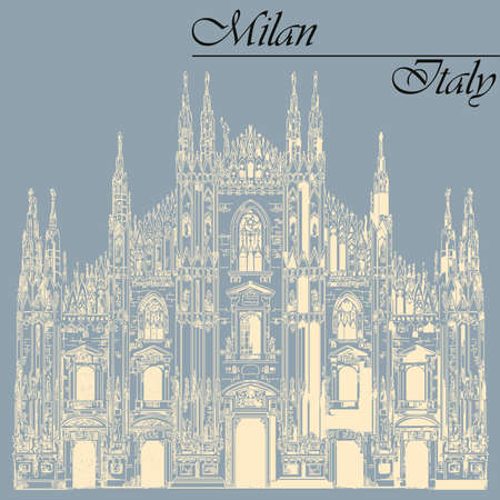 Famous Milan Cathedral ivory color on piazza in Milan, Italy. Graphic hand drawing illustration. Vector isolated on a blue background.