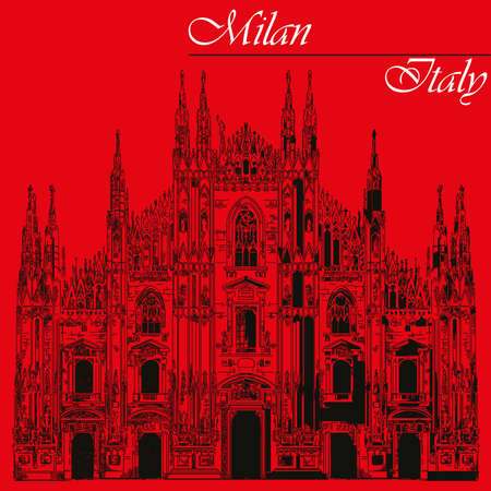 Famous Milan Cathedral in black color on piazza in Milan, Italy. Graphic hand drawing illustration. Vector isolated on a red background.
