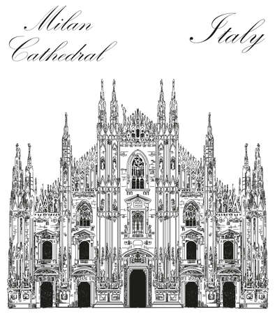Famous Milan Cathedral in black color on piazza in Milan, Italy.