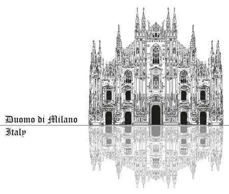 Beroemde kathedraal van Milaan met schaduw op piazza in Milaan, Italië. Grafische hand tekening illustratie. Vector geïsoleerd op een zwarte achtergrond.