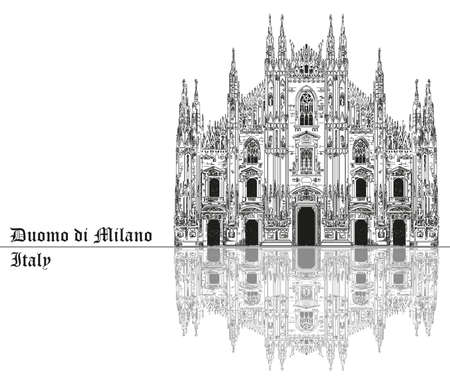 Famous Milan Cathedral with shadow on piazza in Milan, Italy. Graphic hand drawing illustration. Vector isolated on a black background.