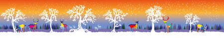 wilderness area: Vector long illustration winter forest with colorful deers and white trees on orange and blue