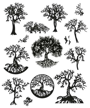 Set of Black trees silhouette isolated on white background. Decorative element