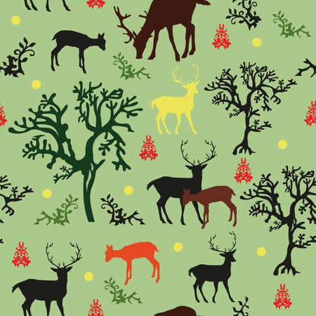 Seamless vector pattern forrest: with black, red, brown and yellow deers and black, green trees on green background Illustration