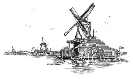 グラフィック ベクトル手に黒い色で水車小屋のアムステルダム (オランダ、オランダ) のイラストを彫刻を描画します。