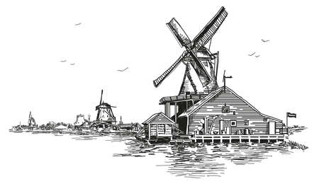 Graphic Vector hand drawing engraving Illustration of watermill in Amsterdam (Netherlands, Holland) in black color. Illustration