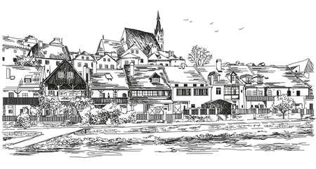 Vectorpanorama van Cesky Krumlov-stad in Tsjechische Republiek met daken, huizen en een de tekeningsillustratie van de vijverhand op witte achtergrond Stock Illustratie