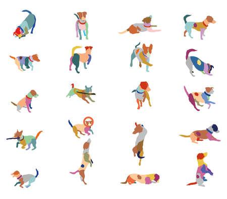 Set Vektor Mosaik Silhouetten von bunten Hunden (Jack Russel Terrier) ausgeschnitten auf weißem Hintergrund
