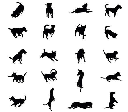 Set vector silhouettes of dogs (Jack Russel terrier) in  black color cut out on white background