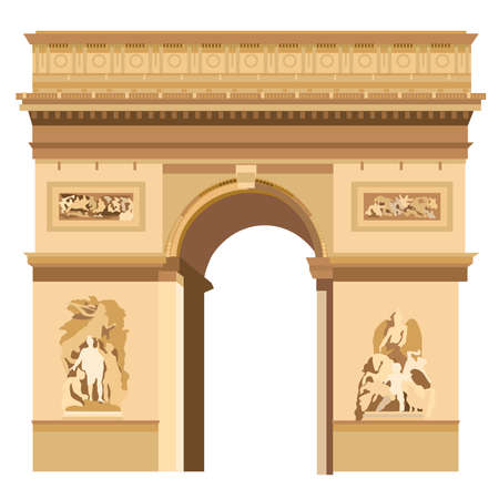 napoleon bonaparte: Colorful Triumphal Arch in Paris vector Illustration on white background Illustration