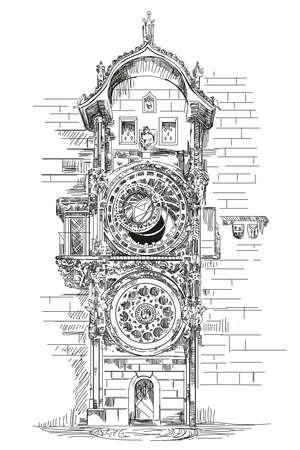 Astronomische klok in Praag, Tsjechische Republiek vectorillustratie hand tekening in zwarte kleur op witte achtergrond