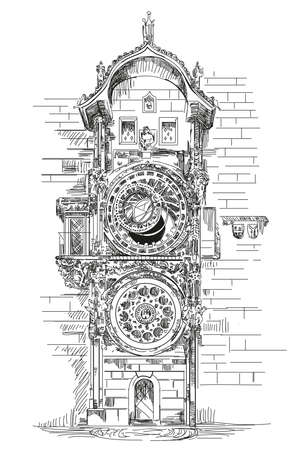 Astronomical Clock in Prague, Czech Republic vector hand drawing illustration in black color on white background