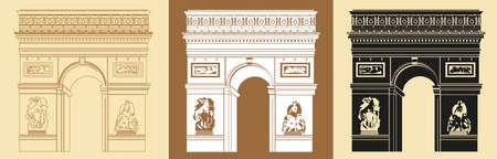 Set of Colorful Triumphal Arch (contour, colorful, black) vector Illustrations on beige background