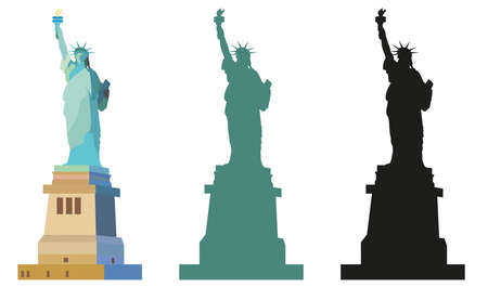Isolated Statue of Liberty in New York Colorful, an green and black silhouettes on white background Illustration