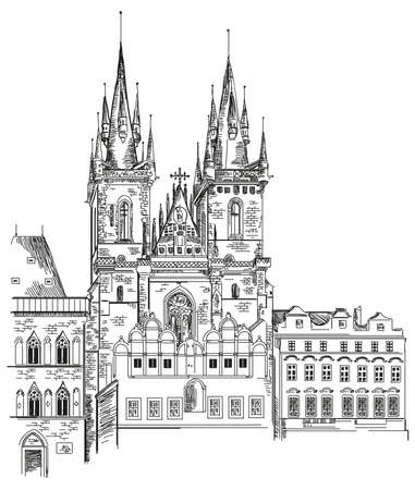Vector hand drawing illustration of Tyn Church in Old Town of Prague in Czech Republic Illustration