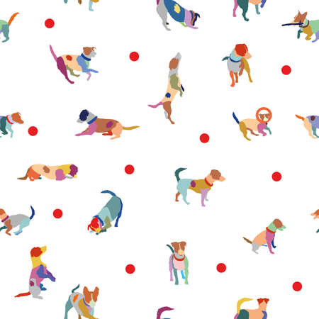 Vector nahtlose Muster mit bunten Jack Russel Terrier auf weißem Hintergrund
