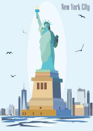 Standbeeld van vrijheid op blauwe achtergrond van New York. Kleurrijke vector afbeelding Stock Illustratie