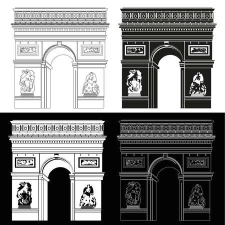 Triomfboog in zwart en wit: contour en silhouet Stock Illustratie
