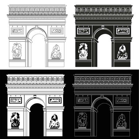 silhouette contour: Triumphal Arch in black and white: contour and silhouette
